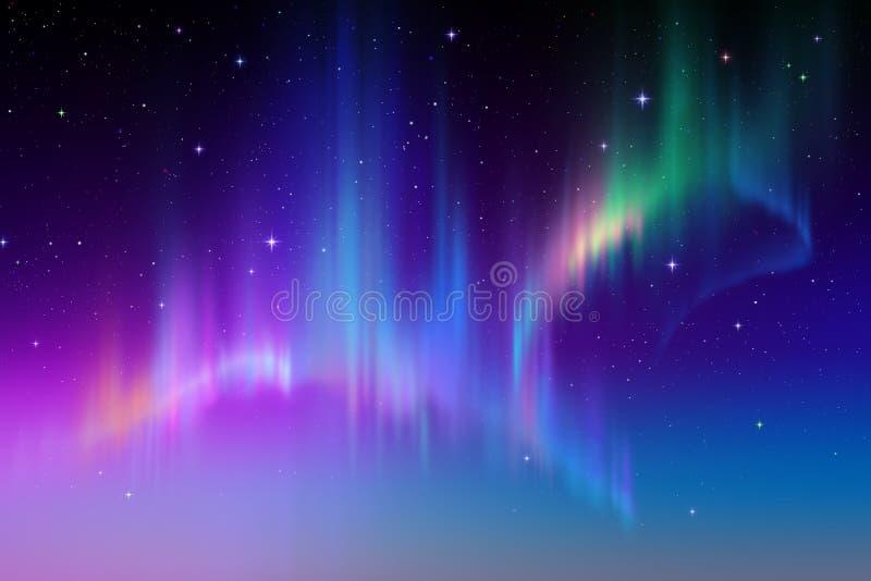 Η αυγή Borealis, αφαιρεί την πολική απεικόνιση υποβάθρου νυχτερινού ουρανού διανυσματική απεικόνιση