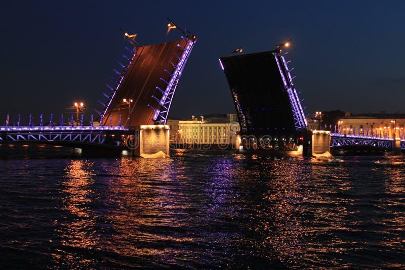 Η αυξημένη γέφυρα παλατιών στις άσπρες νύχτες στην πόλη της Αγίας Πετρούπολης στοκ εικόνες