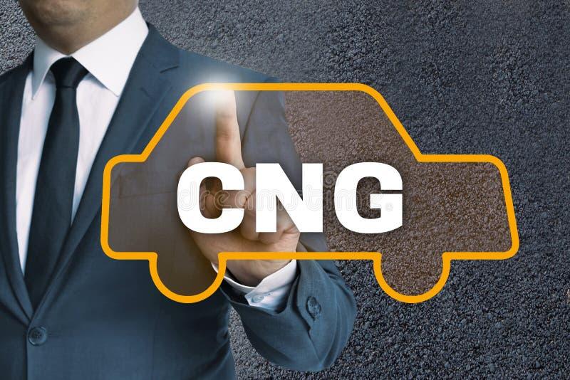 Η αυτόματη οθόνη επαφής CNG χρησιμοποιείται από την έννοια επιχειρηματιών στοκ εικόνα