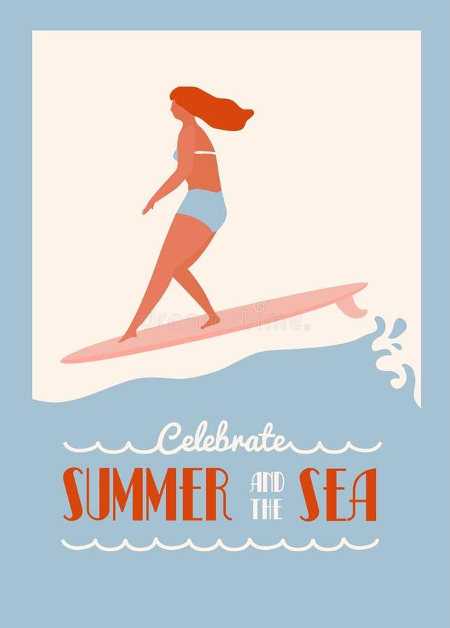 Η αφίσα αποσπάσματος θερινών κειμένων με το κορίτσι surfer σε ένα longboard οδηγά το κύμα Τρόπος ζωής παραλιών στο αναδρομικό ύφο ελεύθερη απεικόνιση δικαιώματος