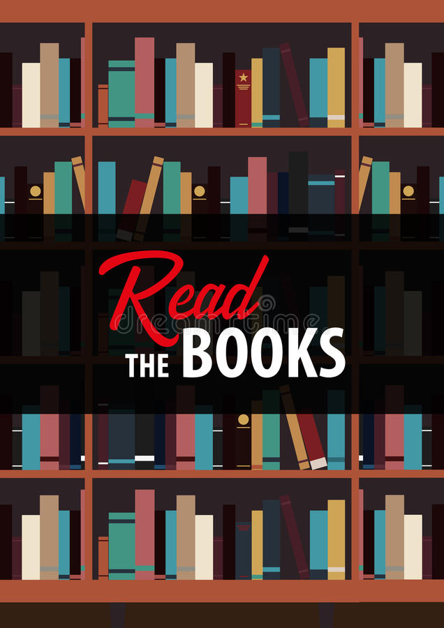 Η αφίσα διάβασε τα βιβλία Ράφι βιβλίων ή βιβλιοθήκη στο υπόβαθρο ελεύθερη απεικόνιση δικαιώματος