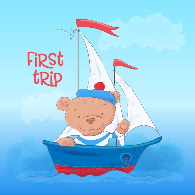 Η αφίσα καρτών μιας χαριτωμένης νεολαίας αφορά ένα ατμόπλοιο σε ένα ύφος κινούμενων σχεδίων Σχέδιο χεριών διανυσματική απεικόνιση