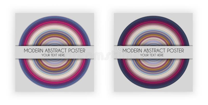 Η αφίσα σχεδίου τέχνης με το στρογγυλό σύμβολο, πιάτο μουσικής, τέντωσε την επίδραση εικονοκυττάρων, διάνυσμα απεικόνιση αποθεμάτων