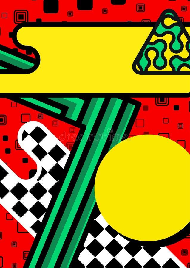 Η αφίσα της Μέμφιδας, υπόβαθρο με τα απλά γεωμετρικά στοιχεία, σχέδια διαμορφώνει την 80-δεκαετία του '90 τάσης διανυσματική απεικόνιση