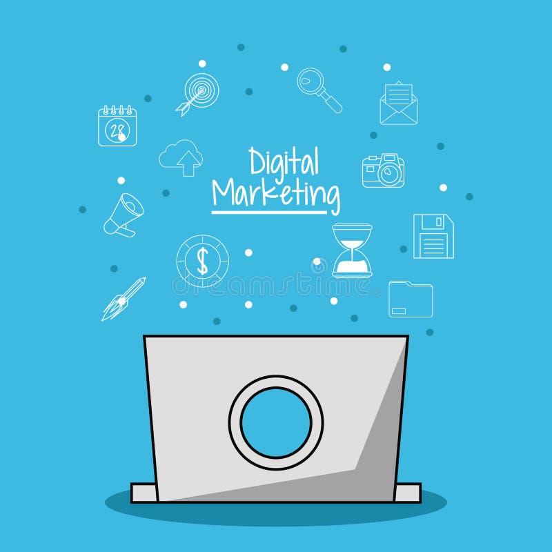 Η αφίσα του ψηφιακού μάρκετινγκ με το φορητό προσωπικό υπολογιστή στα οπισθοσκόπα και εικονίδια μάρκετινγκ σκιαγραφεί στο υπόβαθρ διανυσματική απεικόνιση