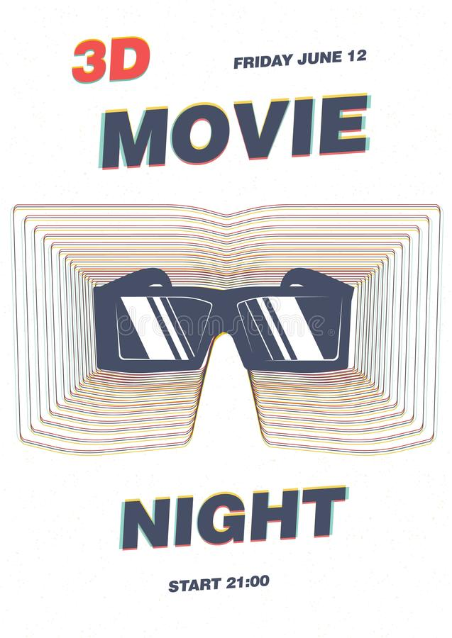 Η αφίσα, το πρότυπο ιπτάμενων ή αφισσών για τη πρεμιέρα κινηματογραφικών ταινιών, η νύχτα κινηματογράφων, το φεστιβάλ ταινιών ή ο διανυσματική απεικόνιση