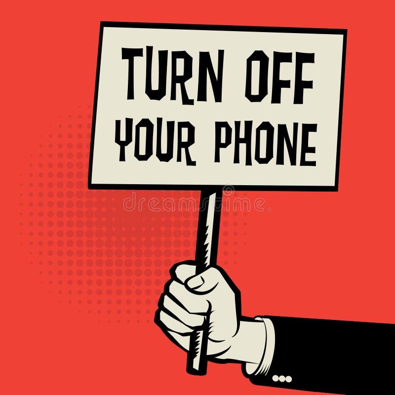 Η αφίσα υπό εξέταση, κείμενο επιχειρησιακής έννοιας κλείνει το τηλέφωνό σας διανυσματική απεικόνιση