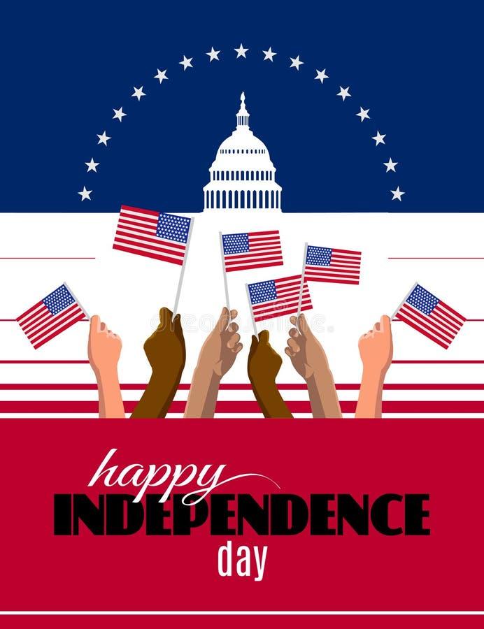Η αφίσσα, το έμβλημα ή η ευχετήρια κάρτα ημέρας της ανεξαρτησίας με τις αφηρημένες ΗΠΑ σημαιοστολίζουν και Λευκός Οίκος και Capit ελεύθερη απεικόνιση δικαιώματος