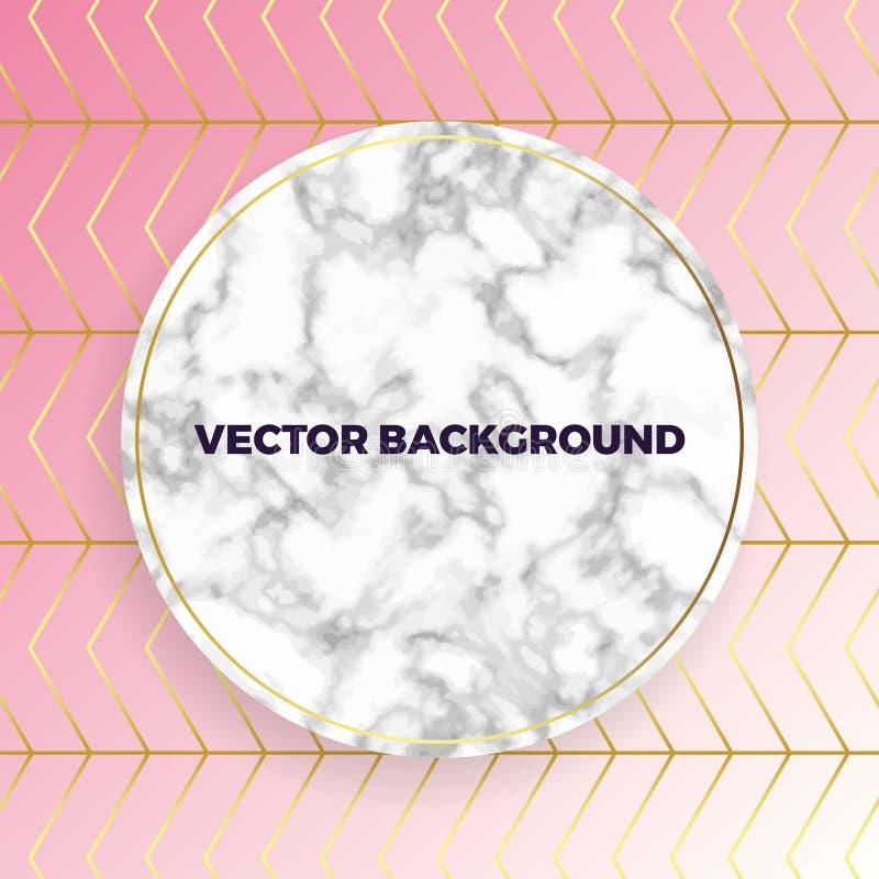 Η αφηρημένη άσπρη κάρτα σύστασης κύκλων μαρμάρινη, διανυσματική ρόδινη κλίση με το χρυσό υπόβαθρο σχεδίων γραμμών, τοποθετεί το κ διανυσματική απεικόνιση