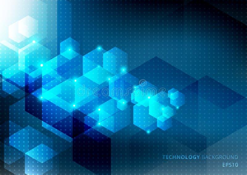 Η αφηρημένη έννοια επιστήμης και τεχνολογίας από τα μπλε hexagons στοιχεία καίγεται στο σκούρο μπλε υπόβαθρο με τη σύσταση σχεδίω απεικόνιση αποθεμάτων