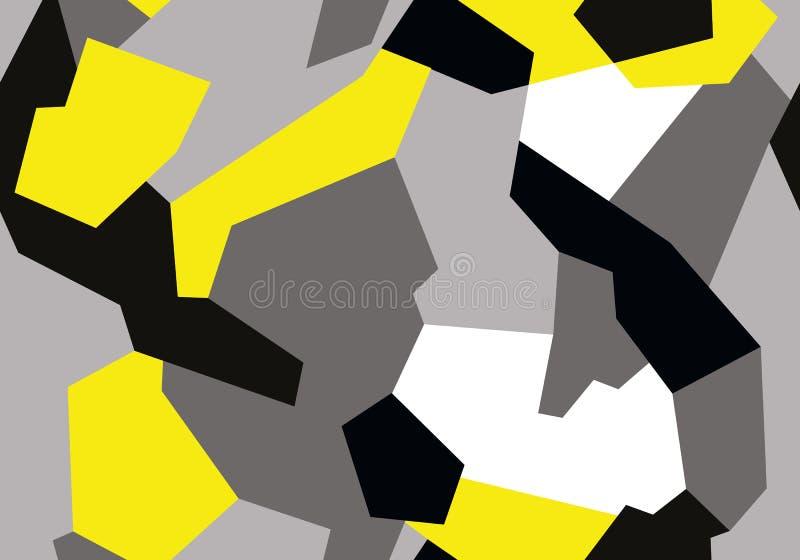 Η αφηρημένη γεωμετρική άνευ ραφής στρατιωτική κάλυψη καλύπτει το σχέδιο Σχέδιο ύφους μόδας γκρίζο με κίτρινο απεικόνιση αποθεμάτων