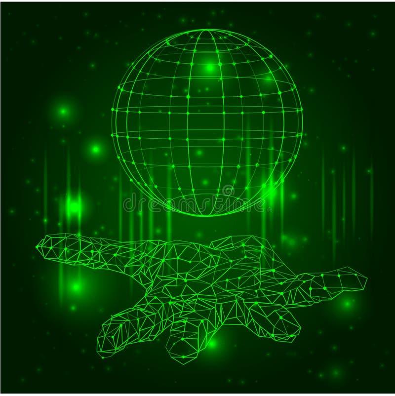 Η αφηρημένη εικόνα μιας εκμετάλλευσης σφαιρικής μέσα παραδίδει τη μορφή ενός έναστρου ουρανού ή ενός διαστήματος, που αποτελείται απεικόνιση αποθεμάτων
