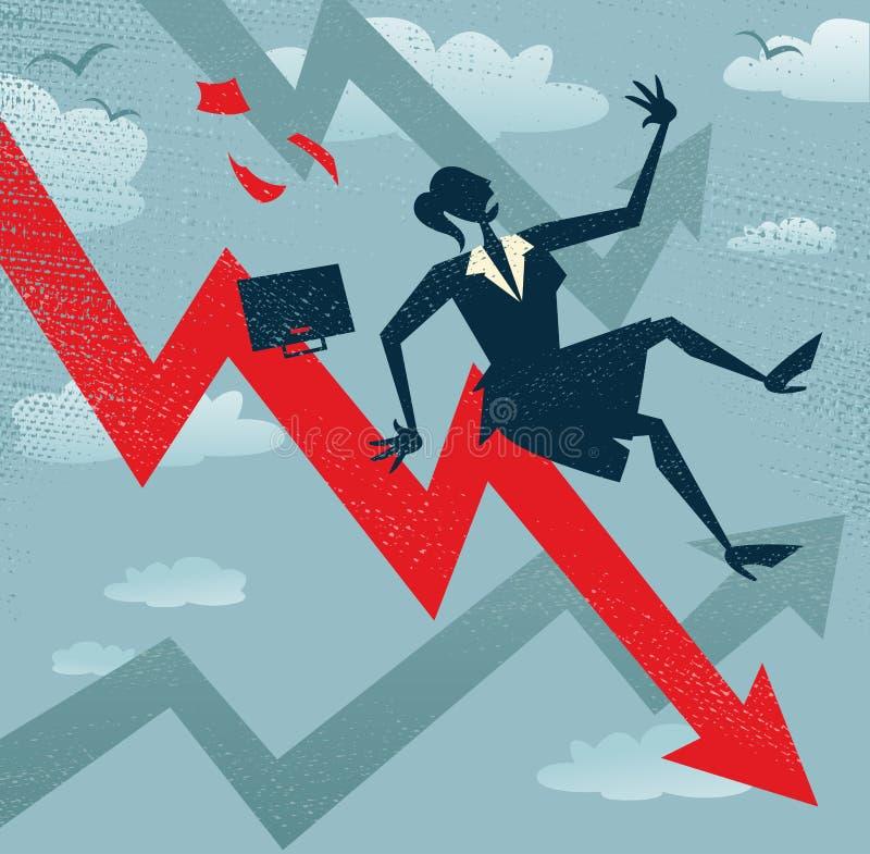 Η αφηρημένη επιχειρηματίας πέφτει κάτω από το διάγραμμα πωλήσεων. διανυσματική απεικόνιση