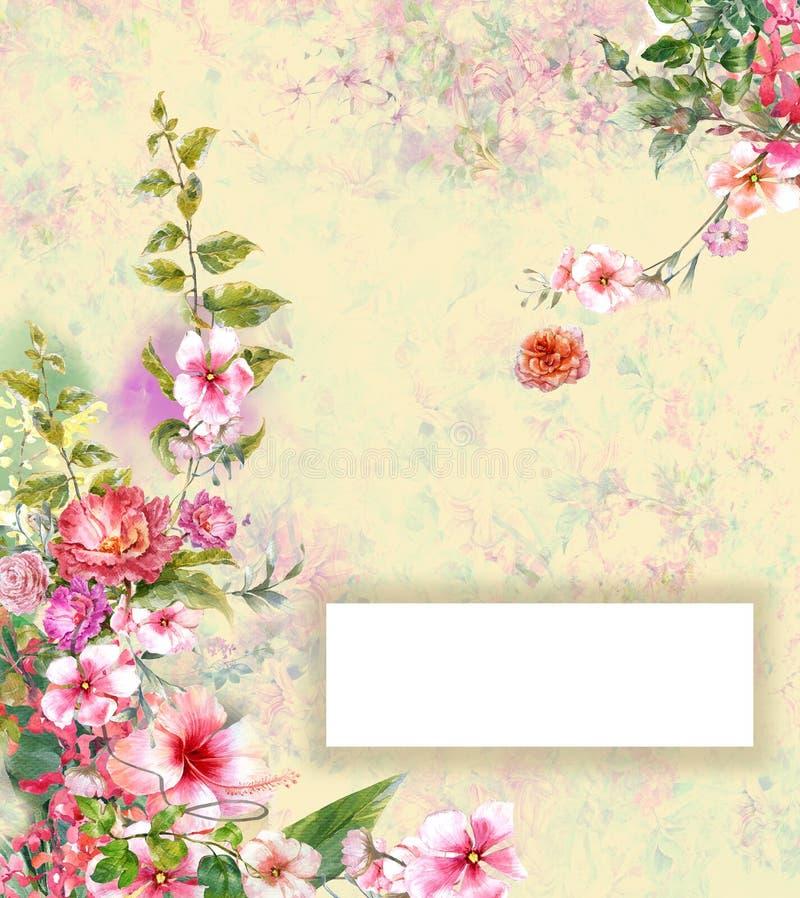 Η αφηρημένη ζωηρόχρωμη ζωγραφική watercolor λουλουδιών, έχει το διάστημα για απεικόνιση αποθεμάτων