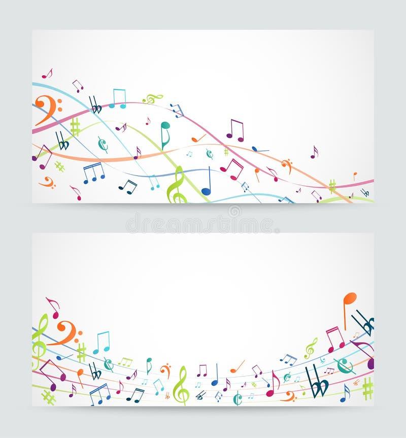 Η αφηρημένη ζωηρόχρωμη μουσική σημειώνει το έμβλημα απεικόνιση αποθεμάτων
