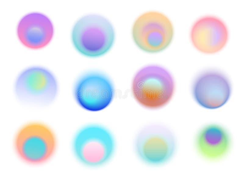 Η αφηρημένη μαλακή κλίση χρωμάτισε τους μουτζουρωμένους κύκλους γύρω από τις μορφές, στοιχεία σχεδίου σχεδιαγράμματος ιπτάμενων α διανυσματική απεικόνιση