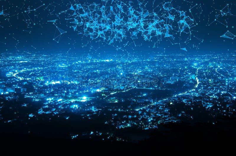Η αφηρημένη σύνδεση σημείων και γραμμών μοιάζει με το αστέρι κατά τη διάρκεια της νύχτας γ στοκ φωτογραφία