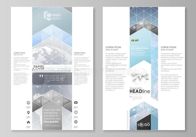 Η αφηρημένη minimalistic διανυσματική απεικόνιση του editable σχεδιαγράμματος σχεδίου προτύπων δύο του σύγχρονου σελίδων blog γρα διανυσματική απεικόνιση
