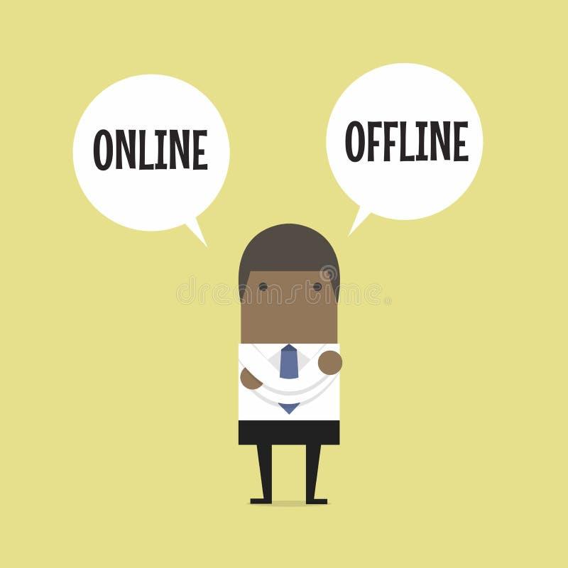 Η αφρικανική στάση επιχειρηματιών συγχέει για να επιλέξει μεταξύ της επιλογής δύο on-line ή off-$l*line διανυσματική απεικόνιση