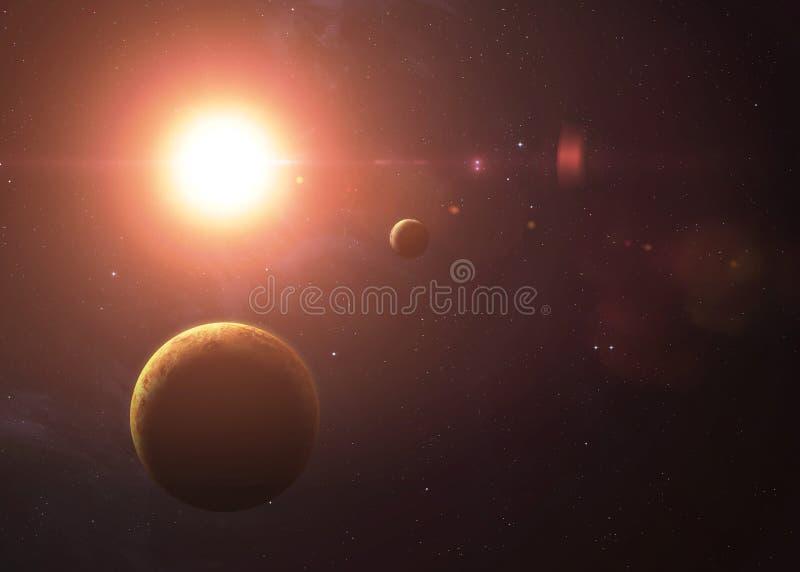 Η Αφροδίτη με τον υδράργυρο από τη διαστημική παρουσίαση όλη αυτοί στοκ φωτογραφίες