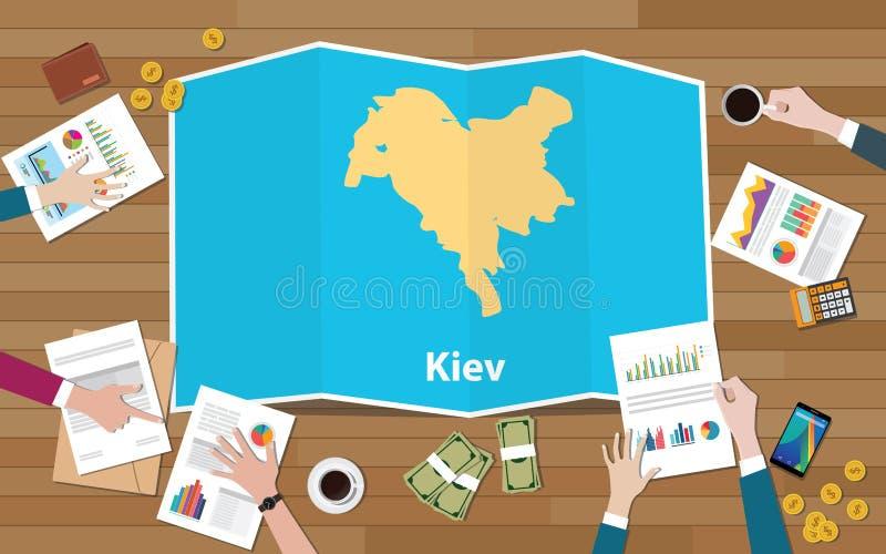 Η αύξηση οικονομίας περιοχών πρωτευουσών του Κίεβου Ουκρανία με την ομάδα συζητά στους χάρτες πτυχών την άποψη από την κορυφή απεικόνιση αποθεμάτων