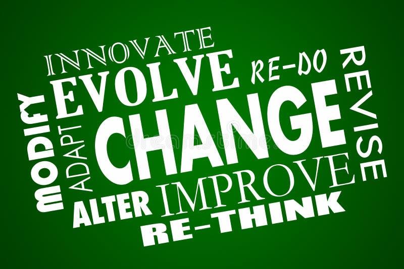 Η αλλαγή προσαρμόζεται εξελίσσεται βελτιώνεται ξανασκέφτεται το κολάζ του Word διανυσματική απεικόνιση
