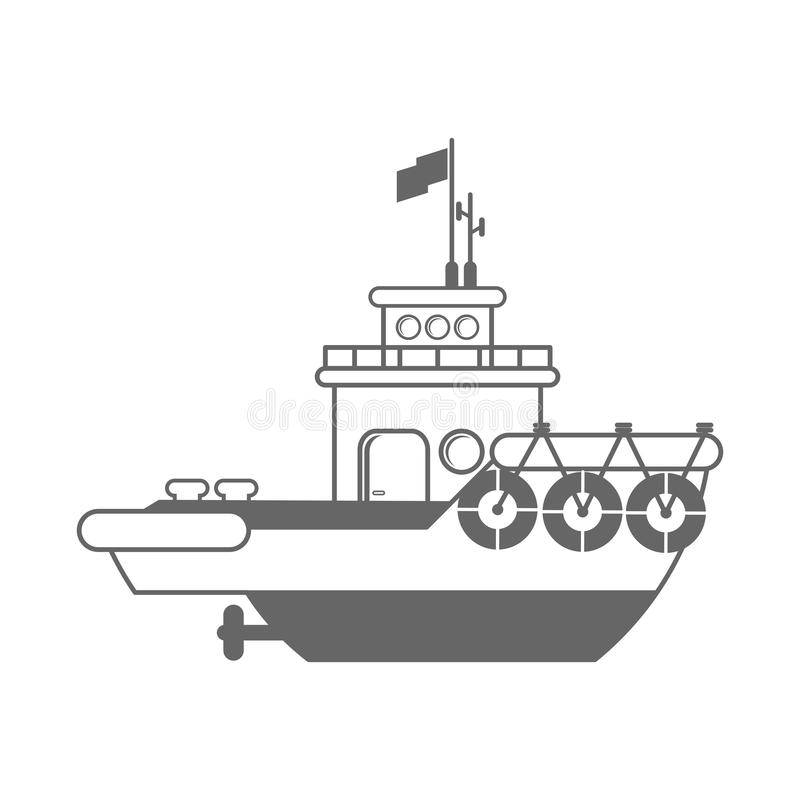Η βάρκα ρυμουλκών ξεφορτώνει, άφησε ` s να πάει διανυσματική απεικόνιση
