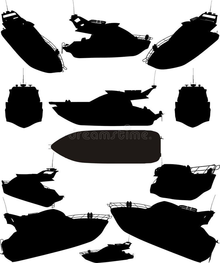 η βάρκα σκιαγραφεί το διανυσματικό γιοτ ελεύθερη απεικόνιση δικαιώματος
