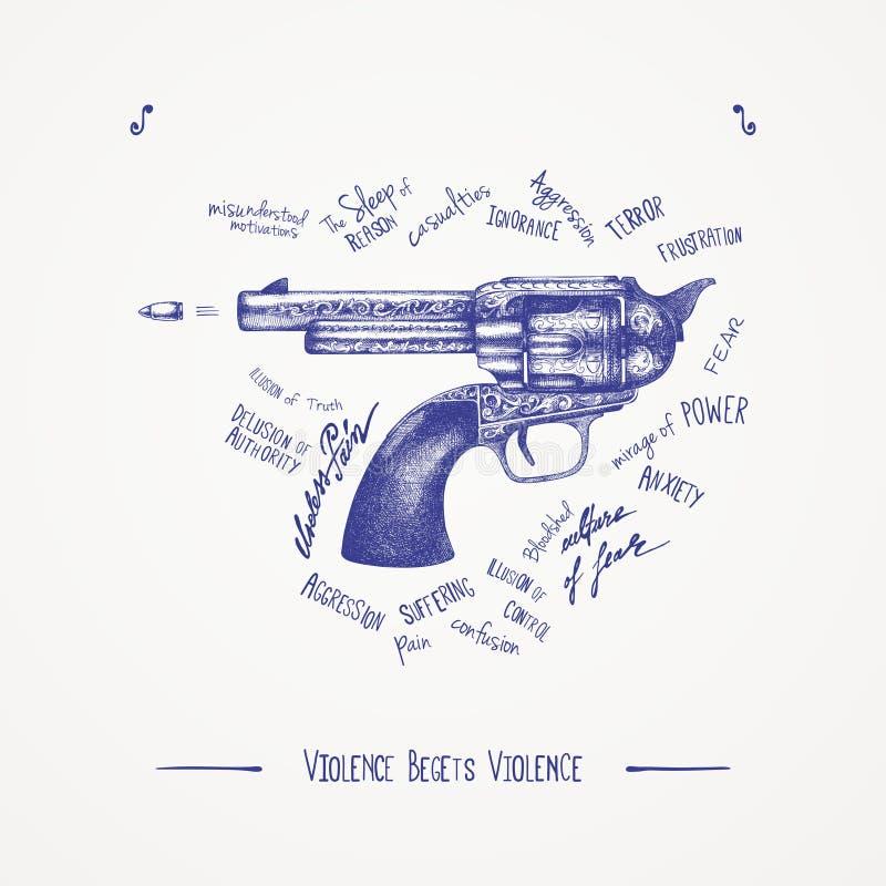 Η βία γέννησε τη βία διανυσματική απεικόνιση