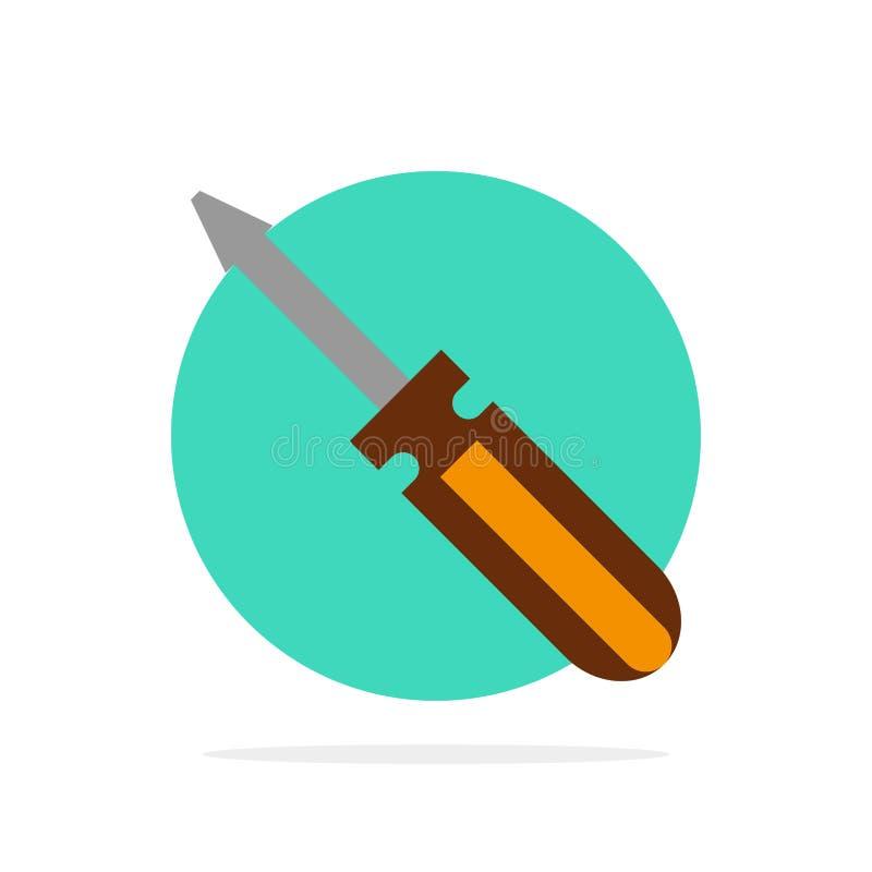 Η βίδα, οδηγός, εργαλείο, επισκευή, εργαλεία αφαιρεί το επίπεδο εικονίδιο χρώματος υποβάθρου κύκλων ελεύθερη απεικόνιση δικαιώματος