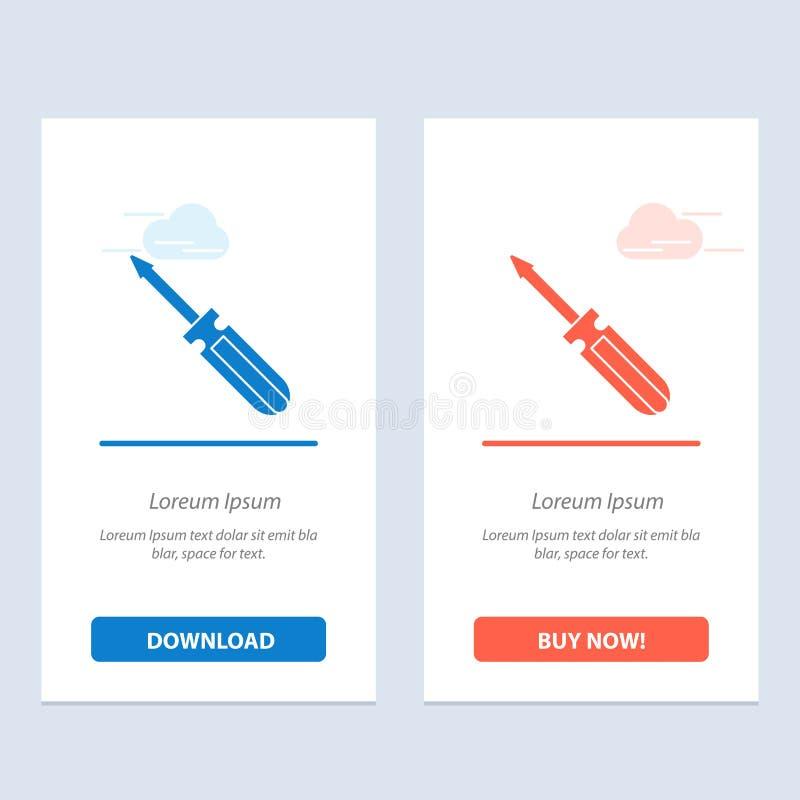 Η βίδα, οδηγός, εργαλείο, επισκευή, εργαλεία μπλε και κόκκινο μεταφορτώνει και αγοράζει τώρα το πρότυπο καρτών Widget Ιστού απεικόνιση αποθεμάτων
