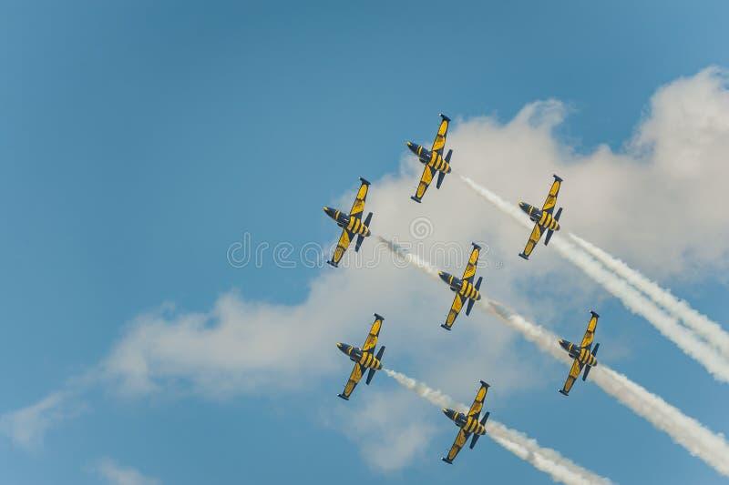 Η βαλτική ομάδα μελισσών εκτελεί την πτήση στον αέρα παρουσιάζει και φύλλα πίσω από τους καπνούς στον ουρανό στοκ εικόνες