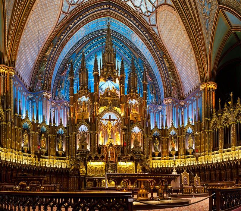 Η βασιλική της Notre-Dame στο Μόντρεαλ στοκ εικόνες