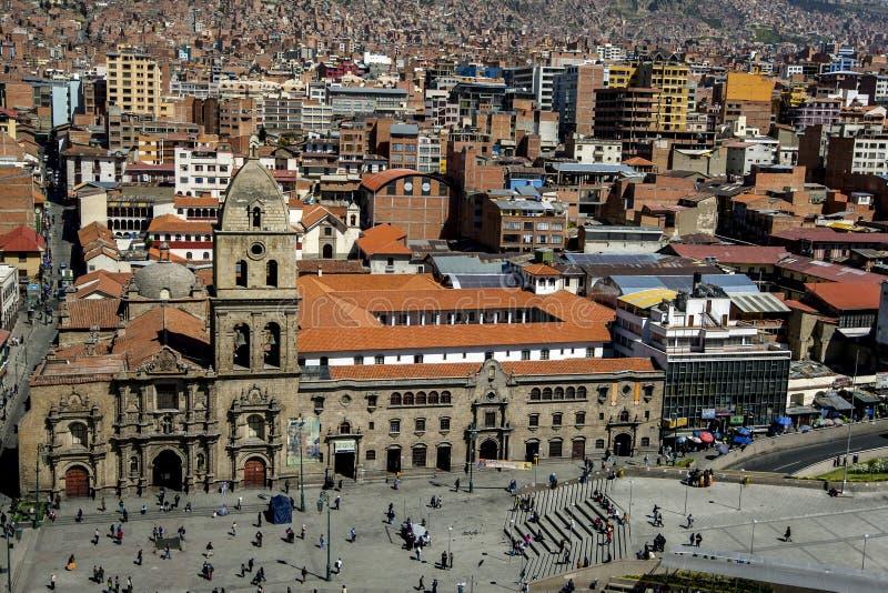 Η βασιλική του Σαν Φρανσίσκο σε Plaza Σαν Φρανσίσκο στο Λα Παζ στη Βολιβία στοκ εικόνα