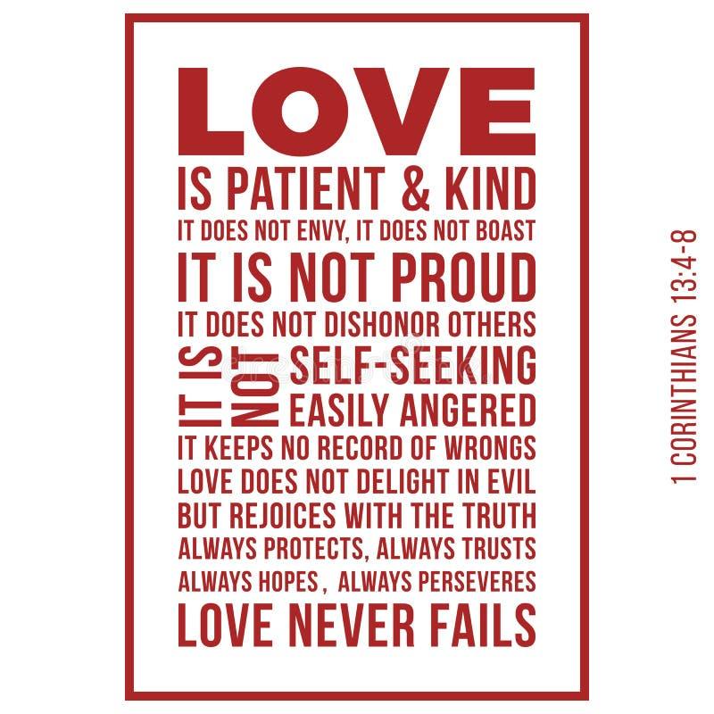 Η βιβλική φράση από 1 κορίνθιοι 13:8, αγάπη δεν αποτυγχάνει ποτέ απεικόνιση αποθεμάτων