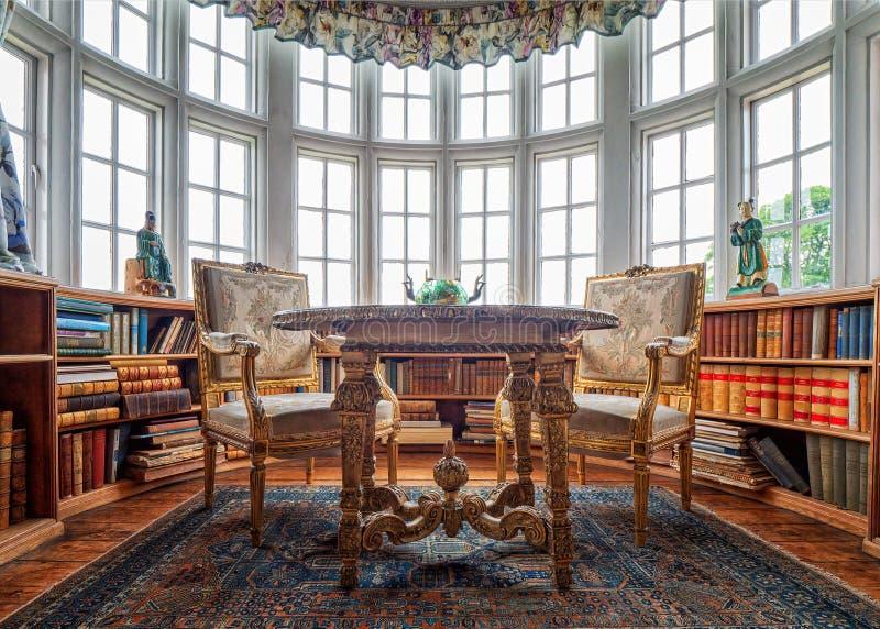 Η βιβλιοθήκη, αίθουσα Burton Agnes, Γιορκσάιρ, Αγγλία στοκ εικόνες