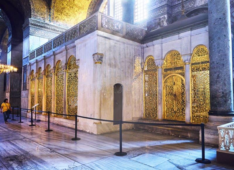Η βιβλιοθήκη Mahmud Ι του μουσουλμανικού τεμένους Hagia Sophia Ιστανμπούλ, Τουρκία στοκ φωτογραφία