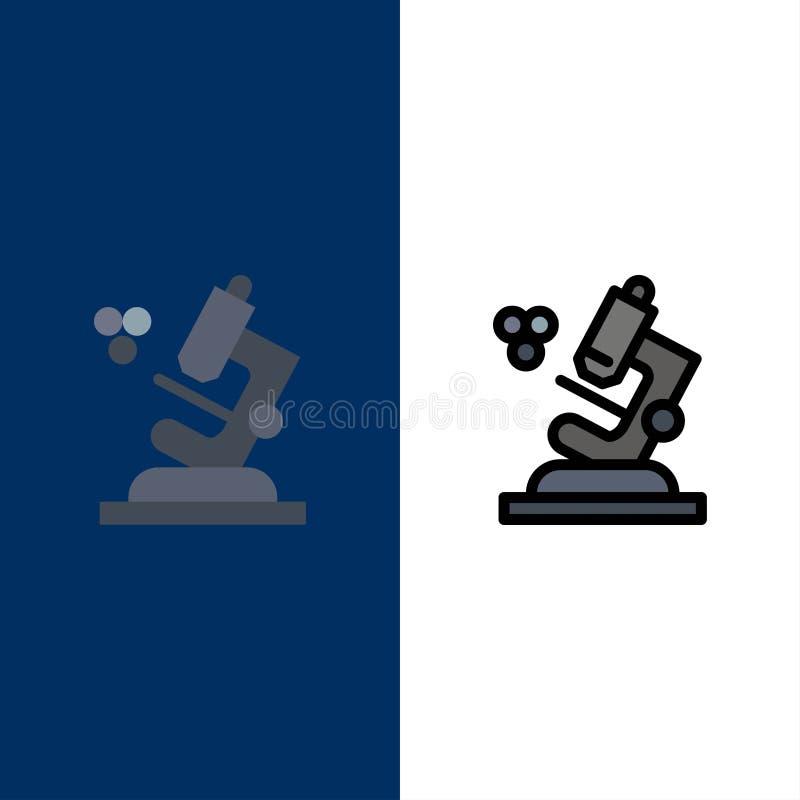 Η βιολογία, μικροσκόπιο, εικονίδια επιστήμης Επίπεδος και γραμμή γέμισε το καθορισμένο διανυσματικό μπλε υπόβαθρο εικονιδίων ελεύθερη απεικόνιση δικαιώματος