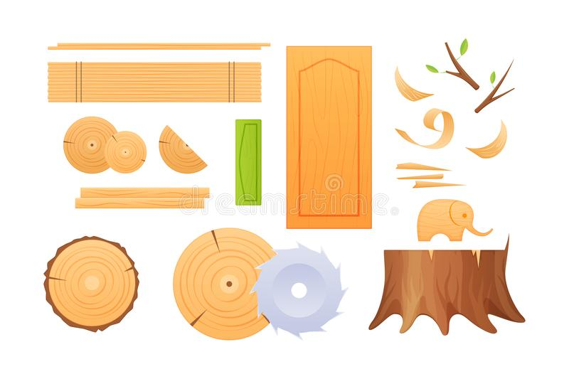 Η βιομηχανία ξυλουργικής, καθορισμένοι κόμβοι, κολοβώματα, πίνακες, ξέσματα, τελείωσε τα ξύλινα προϊόντα απεικόνιση αποθεμάτων