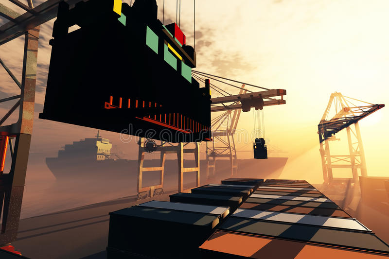 Η βιομηχανική ανατολή ηλιοβασιλέματος λιμένων τρισδιάστατη δίνει 4 απεικόνιση αποθεμάτων