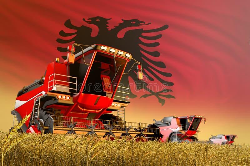 Η βιομηχανική τρισδιάστατη απεικόνιση γεωργικού συνδυάζει τη θεριστική μηχανή που λειτουργεί στον αγροτικό τομέα με το υπόβαθρο σ απεικόνιση αποθεμάτων