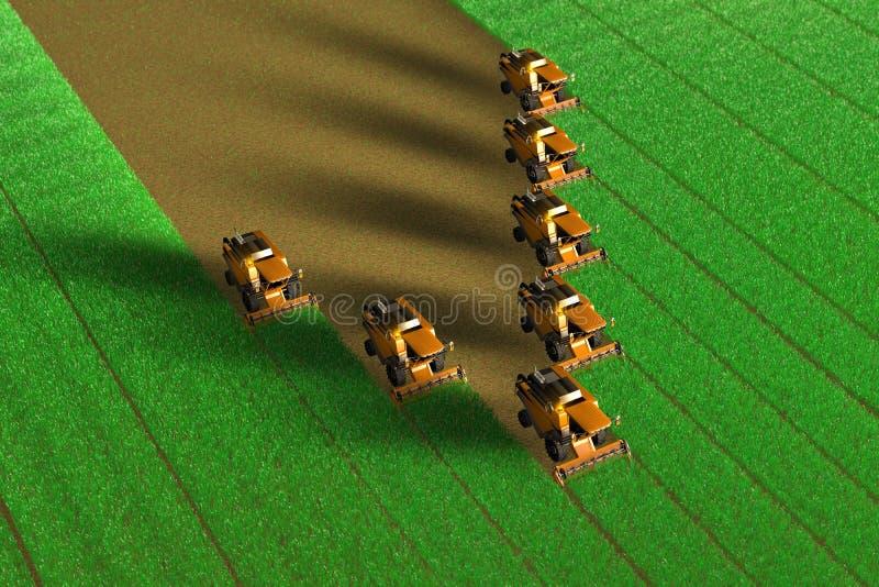 Η βιομηχανική τρισδιάστατη απεικόνιση πολλοί κίτρινο αγρόκτημα συνδυάζει τις θεριστικές μηχανές που λειτουργούν στο μεγάλο πράσιν ελεύθερη απεικόνιση δικαιώματος