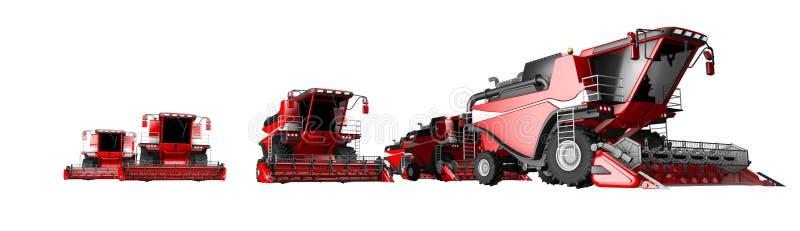 Η βιομηχανική τρισδιάστατη απεικόνιση πολύ κόκκινου σιταριού συνδυάζει τις θεριστικές μηχανές που απομονώνονται στο άσπρο υπόβαθρ διανυσματική απεικόνιση