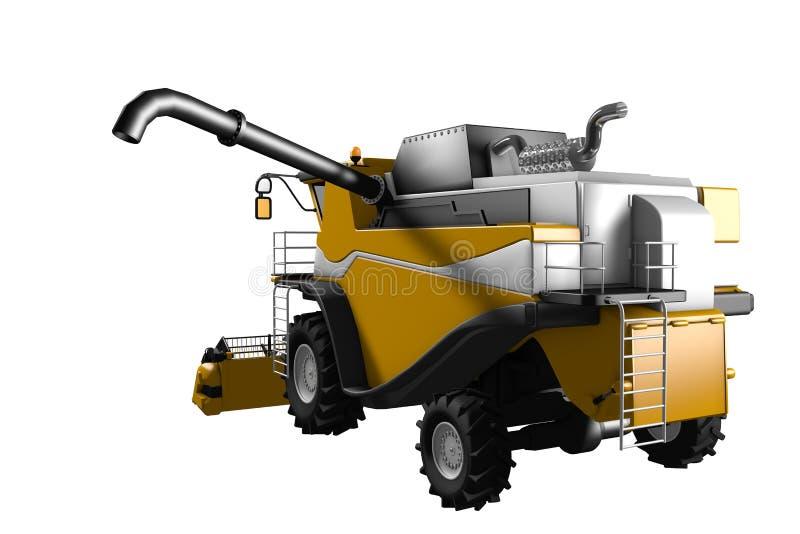 Η βιομηχανική τρισδιάστατη απεικόνιση της μεγάλης πορτοκαλιάς αγροτικής γεωργικής θεριστικής μηχανής με το σωλήνα σιταριού αποσύν απεικόνιση αποθεμάτων