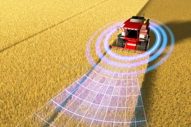 Η βιομηχανική τρισδιάστατη απεικόνιση της μόνης οδήγησης, τηλεκατευθυνόμενο, αυτόνομο αγρόκτημα γεωργικό συνδυάζουν τη θεριστική  απεικόνιση αποθεμάτων