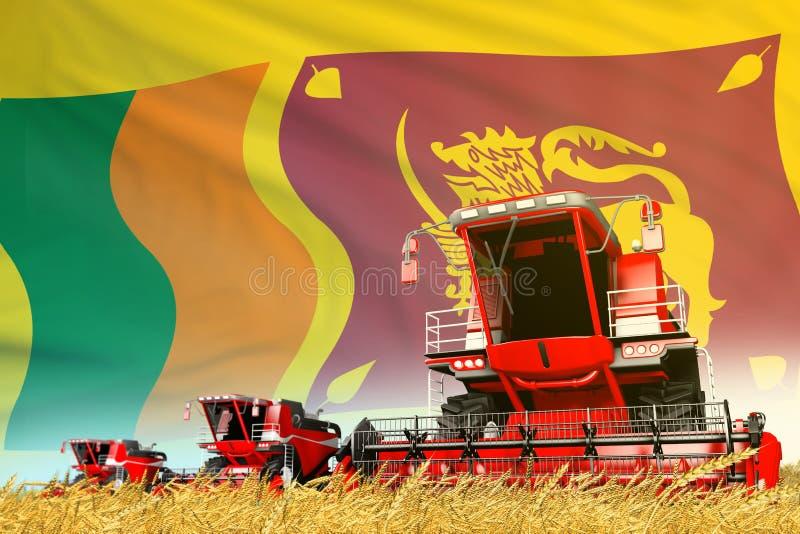 Η βιομηχανική τρισδιάστατη απεικόνιση του κόκκινου σιταριού γεωργική συνδυάζει τη θεριστική μηχανή στον τομέα με το υπόβαθρο σημα ελεύθερη απεικόνιση δικαιώματος