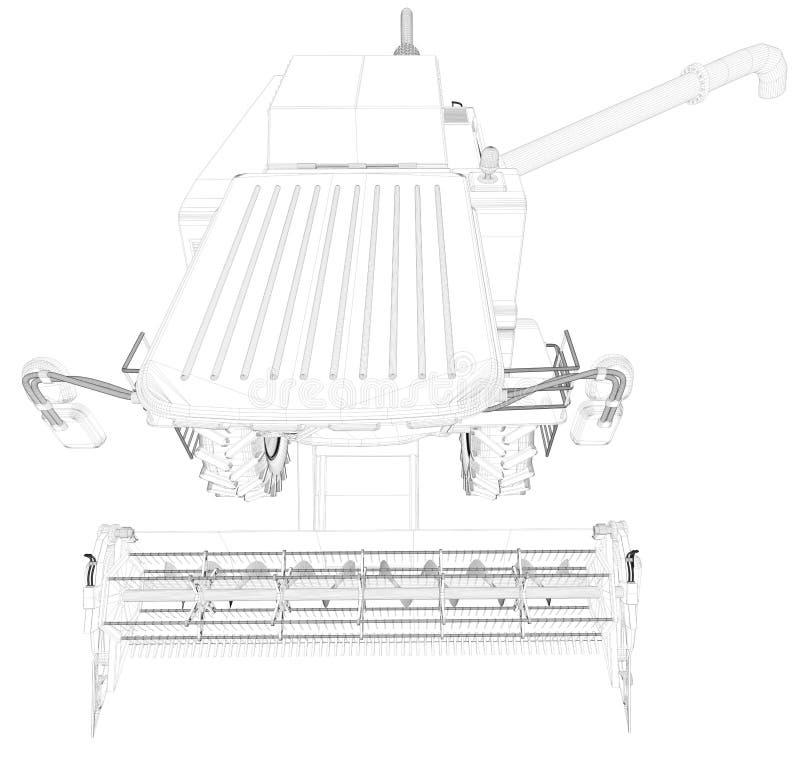 Η βιομηχανική τρισδιάστατη απεικόνιση του λεπτού περιγραμμένου, λεπτομερούς τρισδιάστατου σχεδίου συνδυάζει τη θεριστική μηχανή μ απεικόνιση αποθεμάτων