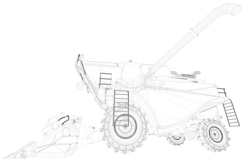 Η βιομηχανική τρισδιάστατη απεικόνιση του λεπτού περιγραμμένου, λεπτομερούς τρισδιάστατου σχεδίου γεωργικού συνδυάζει τη θεριστικ διανυσματική απεικόνιση