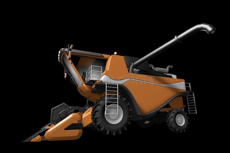 Η βιομηχανική τρισδιάστατη απεικόνιση του μεγάλου σύγχρονου πορτοκαλιού σίτου συνδυάζει τη θεριστική μηχανή την αποσυνδεμένη σωλή ελεύθερη απεικόνιση δικαιώματος