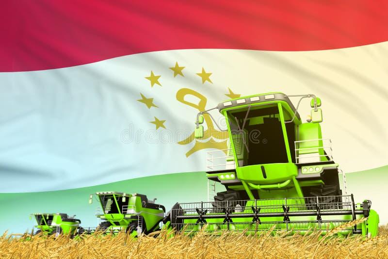 Η βιομηχανική τρισδιάστατη απεικόνιση του πράσινου σιταριού γεωργική συνδυάζει τη θεριστική μηχανή στον τομέα με το υπόβαθρο σημα διανυσματική απεικόνιση